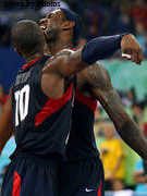 LeBron James and Kobe Bryant Celebrate the Gold Medal Basketball Victory