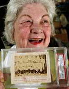 Bernice Gallego 72 of Fresno proudly showing her rare collectible find an 1869 Cincinnati Red Stockings Baseball Card one of the first ever made and Valued it at over $100,000 she first listed it on eBay for $10