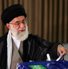 Supreme Leader of the Islamic Revolution Ayatollah Seyyed Ali Khamenei at Islamic Republic of Iran Election 2009 President Mahmoud Ahmadinejad declared winner 24 million votes 62 percent