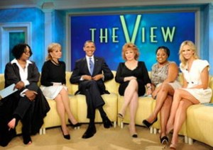 Obama girls day out on ABC tv The View with Barbara Walters, Whoopi Goldberg, Joy Behar, Sherri Shepherd and Elisabeth Hasselbeck