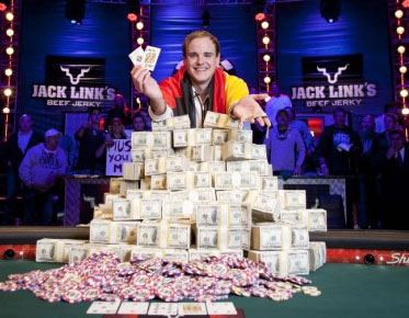 Pius Heinz is the new 2011 WSOP Main Event Poker Champion winning pokers most coveted prize the gold and diamond WSOP bracelet plus $8,715,638 cash money